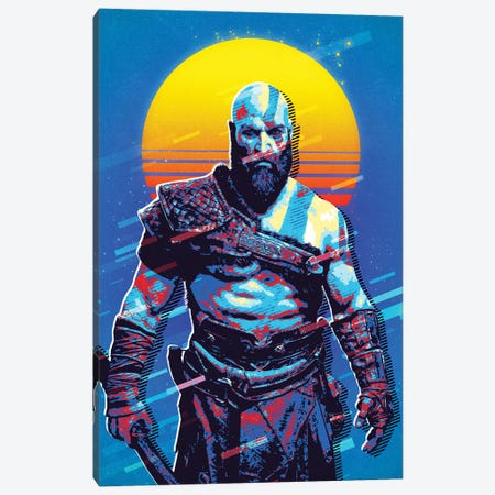 Kratos Retro Canvas Print #DUR534} by Durro Art Canvas Artwork