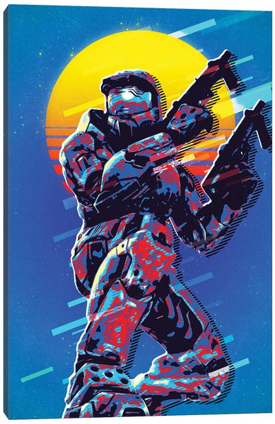 Master Chief Retro Canvas Art Print