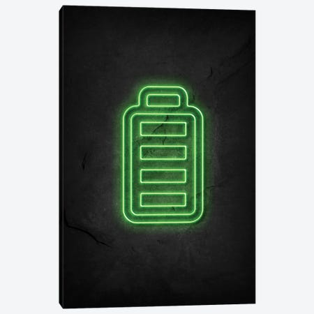 Battery Full Neon Canvas Print #DUR577} by Durro Art Canvas Wall Art