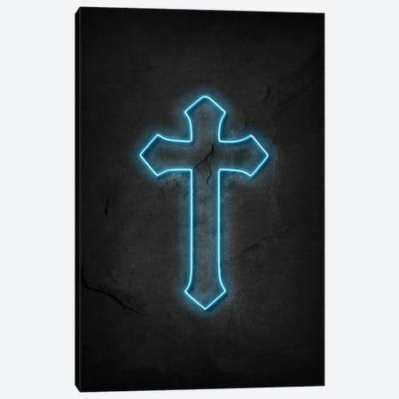 Cross Neon Canvas Print #DUR591} by Durro Art Canvas Print