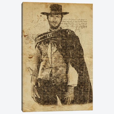 Clint Eastwood Davinci Canvas Print #DUR608} by Durro Art Canvas Print