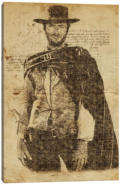 Clint Eastwood Davinci Canvas Art Print
