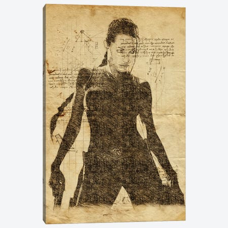 Lara Croft Davinci Canvas Print #DUR615} by Durro Art Canvas Art Print