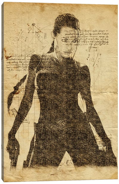 Lara Croft Davinci Canvas Art Print