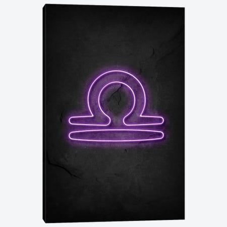 Libra Neon Canvas Print #DUR622} by Durro Art Art Print