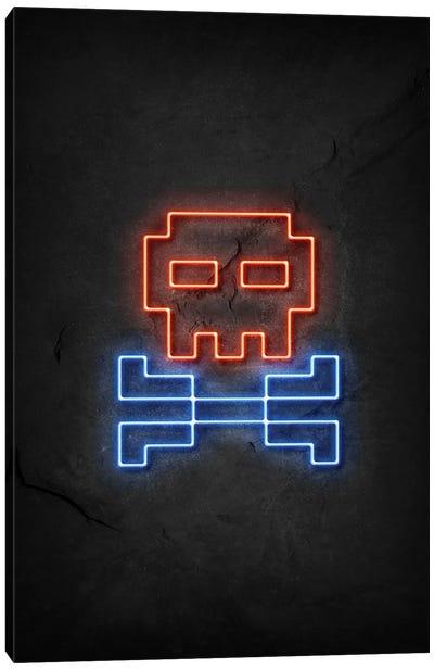 Pixel Skull Neon Canvas Art Print
