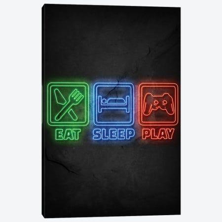 Eat Sleep Play Neon Canvas Print #DUR665} by Durro Art Canvas Artwork
