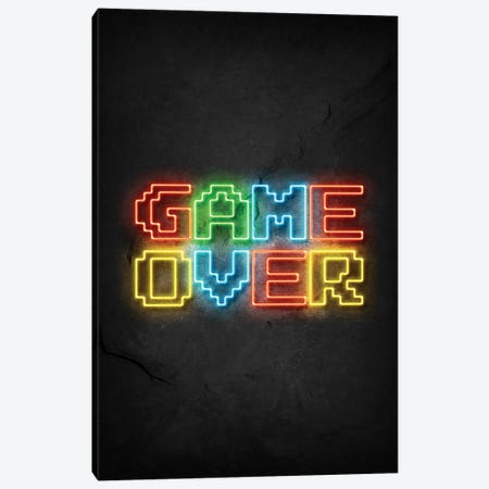 Game Over Neon Canvas Print #DUR667} by Durro Art Canvas Art