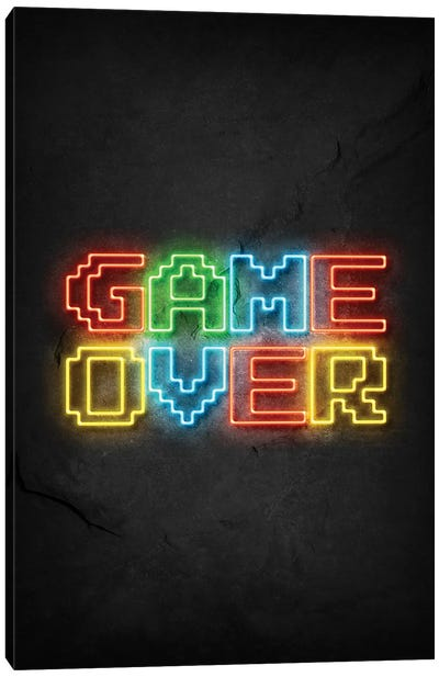 Game Over Neon Canvas Art Print