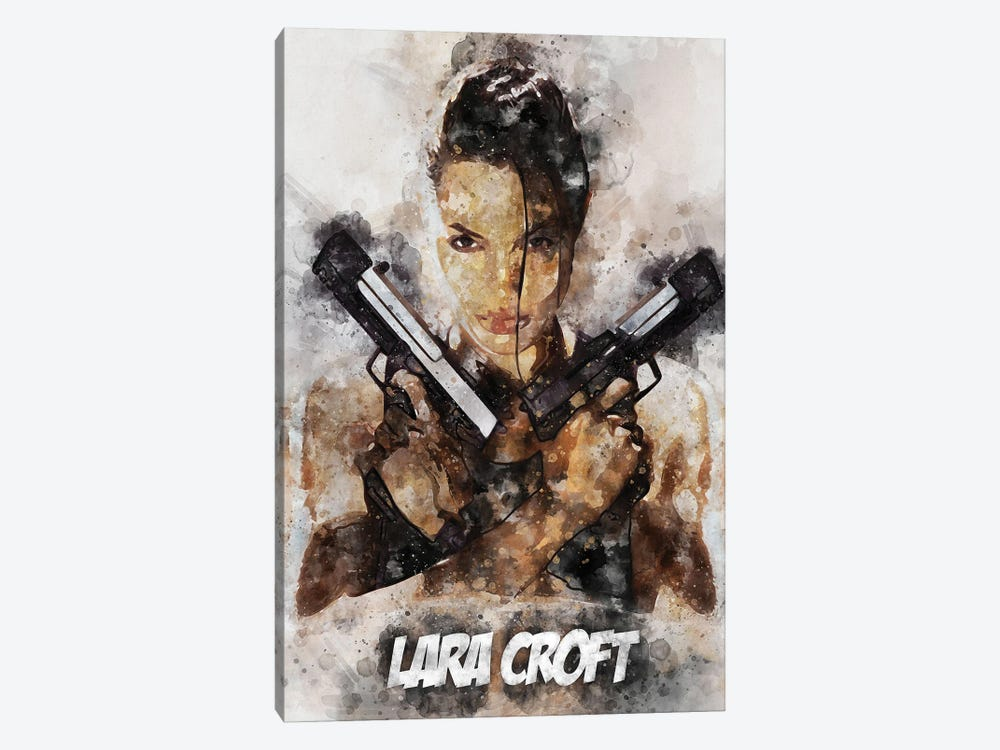 Lara Croft II Watercolor by Durro Art 1-piece Canvas Artwork