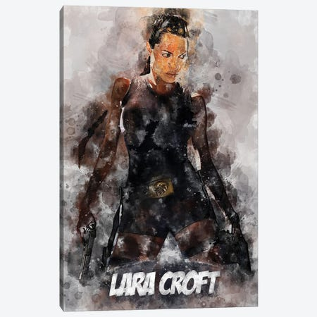 Lara Croft Watercolor II Canvas Print #DUR692} by Durro Art Canvas Art
