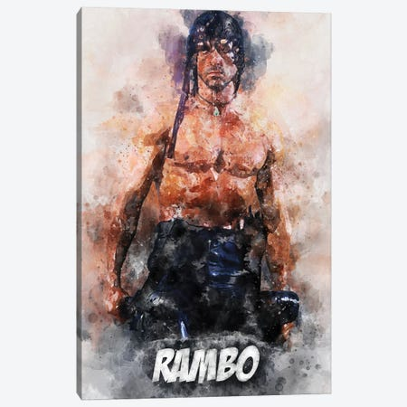 Rambo Watercolor II Canvas Print #DUR695} by Durro Art Art Print