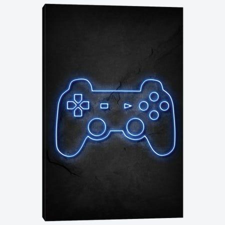 Playstation Controller Neon Canvas Print #DUR736} by Durro Art Canvas Art