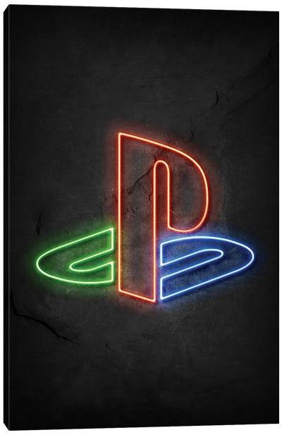 Playstation Logo Neon Canvas Art Print