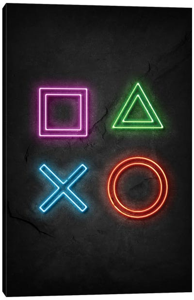 Playstation Signs Neon Canvas Art Print