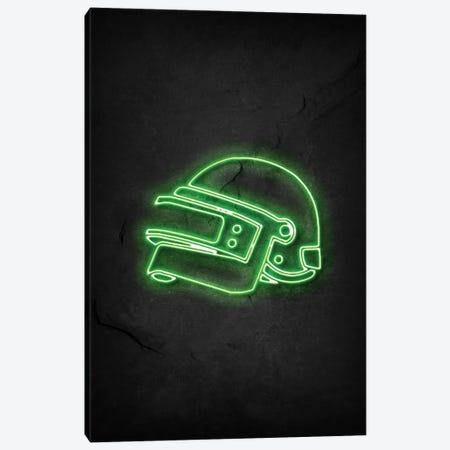 Pubg Helmet Green Neon Canvas Print #DUR743} by Durro Art Canvas Artwork