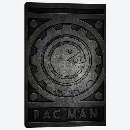 Pac Man Metal Canvas Print #DUR761} by Durro Art Canvas Wall Art