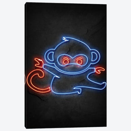 Monkey Ninja Neon Canvas Print #DUR775} by Durro Art Canvas Wall Art
