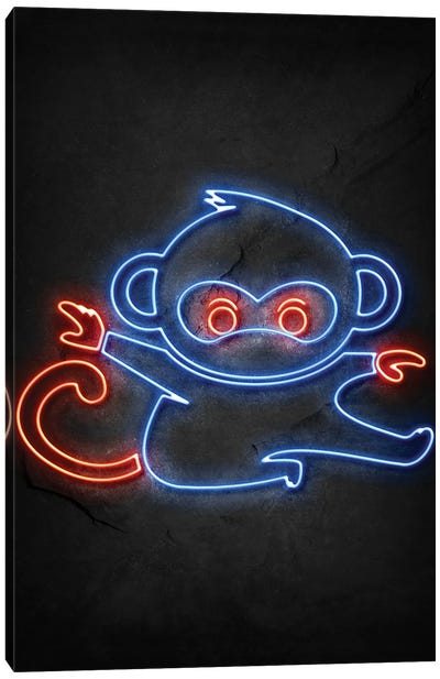 Monkey Ninja Neon Canvas Art Print
