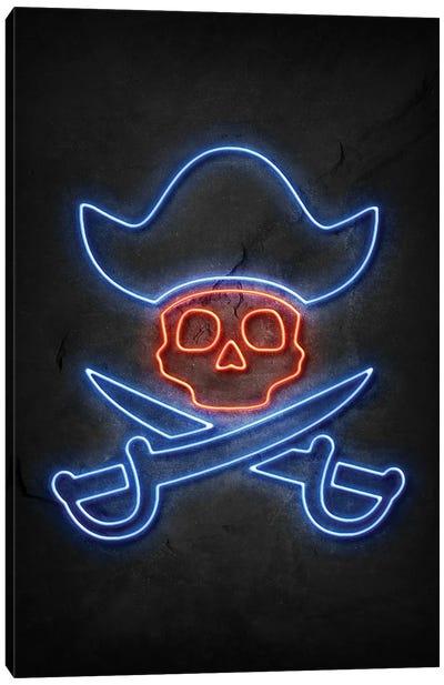Pirate Skull Neon Canvas Art Print