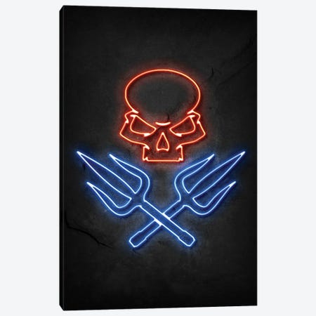 Skull And Swords Neon Canvas Print #DUR781} by Durro Art Canvas Artwork