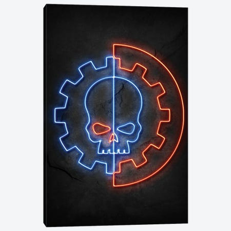 Skull Neon Canvas Print #DUR786} by Durro Art Canvas Print