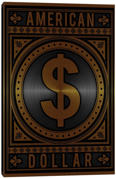 American Dollar Golden Canvas Art Print