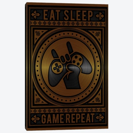 Eat Sleep Game Repeat Golden Canvas Print #DUR788} by Durro Art Canvas Artwork
