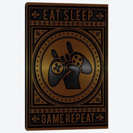 Eat Sleep Game Repeat Golden Canvas Print #DUR788} by Durro Art Canvas Artwork