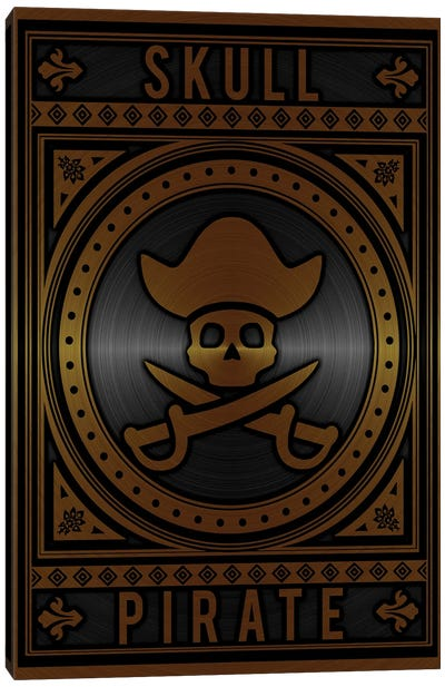Skull Pirate Golden Canvas Art Print