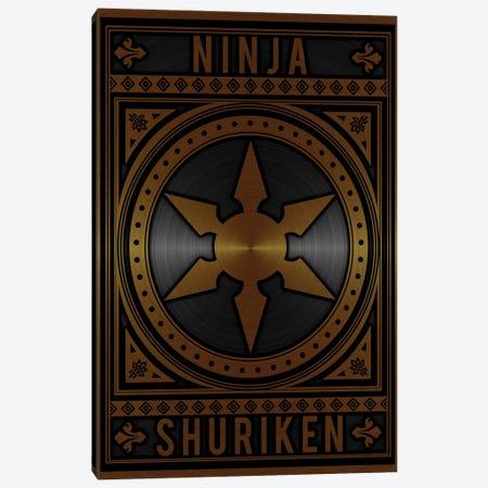 Ninja Shuriken Golden Canvas Print #DUR793} by Durro Art Canvas Print