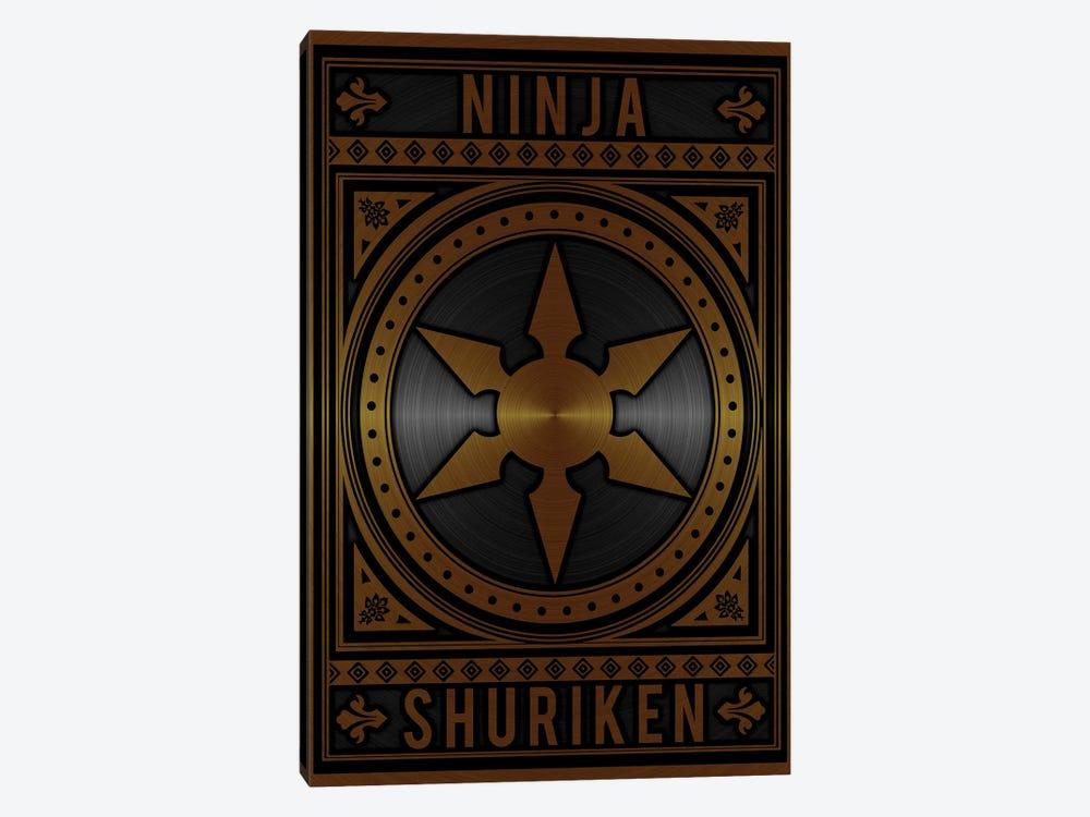 Ninja Shuriken Golden by Durro Art 1-piece Art Print