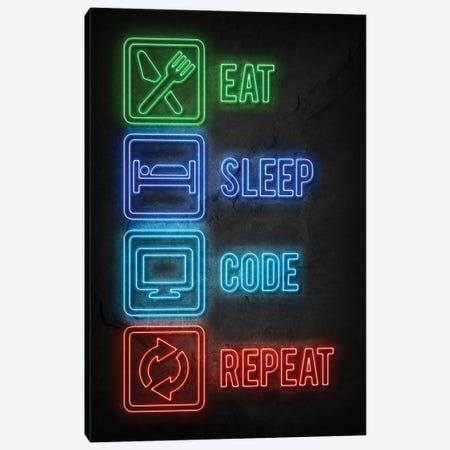 Eat Sleep Code Repeat Canvas Print #DUR796} by Durro Art Canvas Art