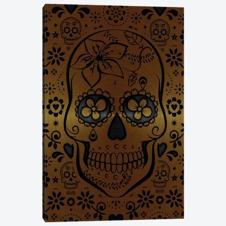 Gold Sugar Skull II Canvas Print #DUR863} by Durro Art Canvas Print
