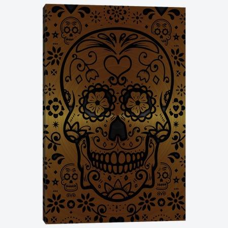 Gold Sugar Skull Canvas Print #DUR867} by Durro Art Canvas Artwork