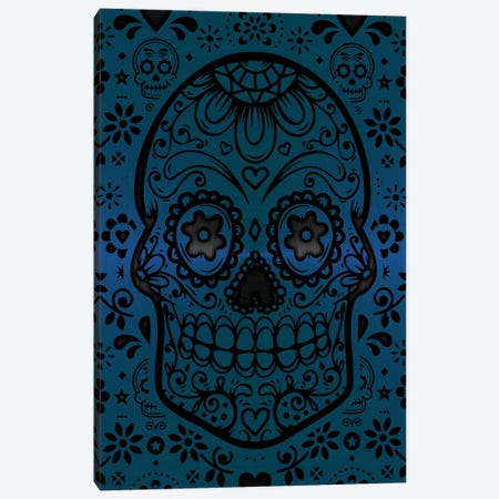 Gold Sugar Skull IV Blue Canvas Print #DUR870} by Durro Art Canvas Art