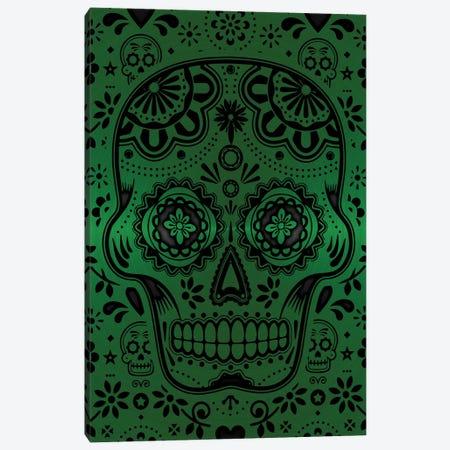 Gold Sugar Skull V Green Canvas Print #DUR871} by Durro Art Canvas Art