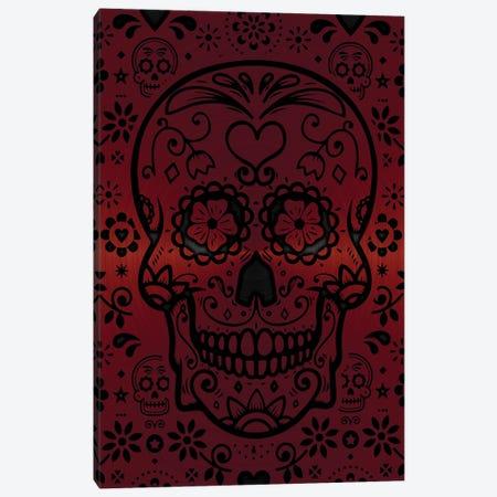 Gold Sugar Skull Red Canvas Print #DUR872} by Durro Art Canvas Wall Art