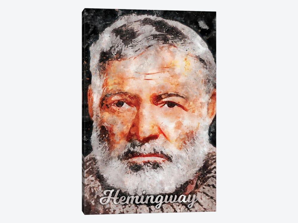 Hemingway Watercolor by Durro Art 1-piece Canvas Print