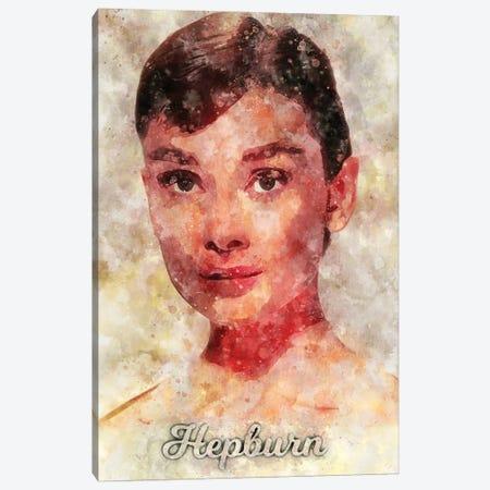Hepburn Watercolor Canvas Print #DUR898} by Durro Art Canvas Artwork