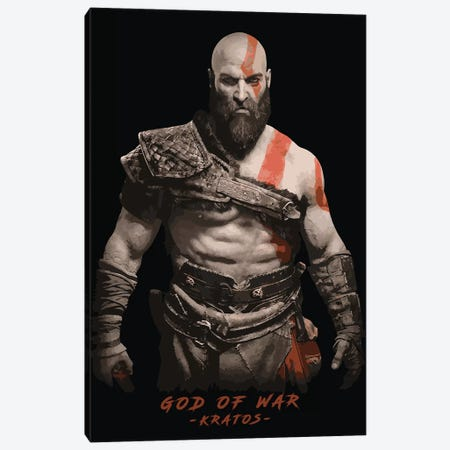 God Of War Kratos Canvas Print #DUR89} by Durro Art Canvas Art