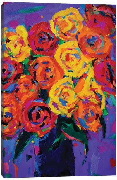 Roses In A Blue Vase Canvas Art Print