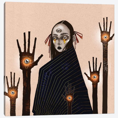 The Hand Reader Canvas Print #DVA59} by DEMÖ Canvas Wall Art