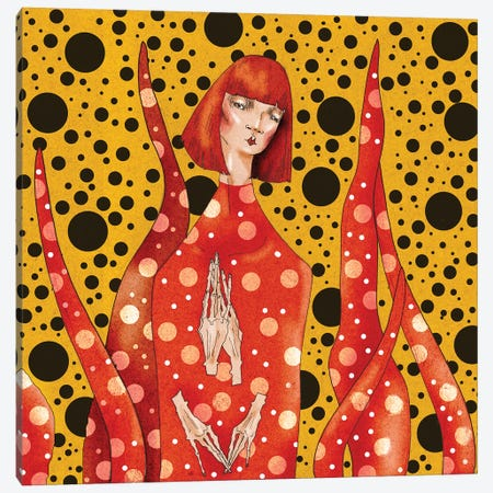 Yayoi Kusama Canvas Print #DVA85} by DEMÖ Canvas Artwork