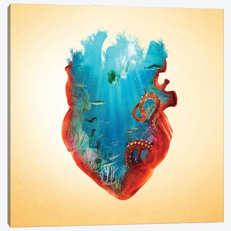 Diving Heart Canvas Print #DVE108} by Diogo Verissimo Canvas Artwork