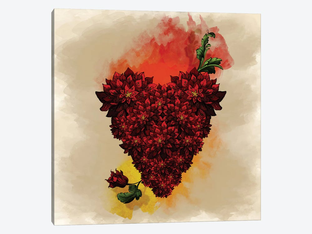 Blooming Heart 1-piece Canvas Wall Art