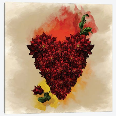 Blooming Heart 3-Piece Canvas #DVE10} by Diogo Verissimo Canvas Wall Art