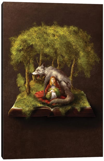 The Girl And The Wolf Canvas Art Print