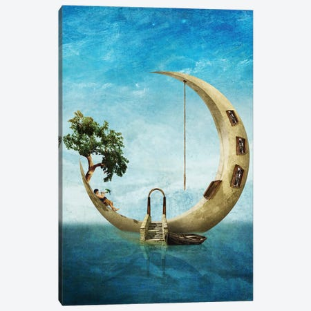 Home Sweet Moon 3-Piece Canvas #DVE34} by Diogo Verissimo Canvas Print