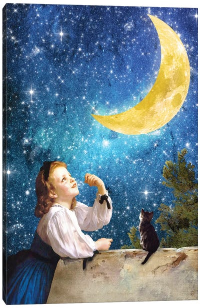 One Wish Upon The Moon Canvas Art Print